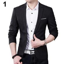 Men\'s Slim Formal Business Suit Coat One Button Lapel Long Sleeve Pockets Top Men Business Suit