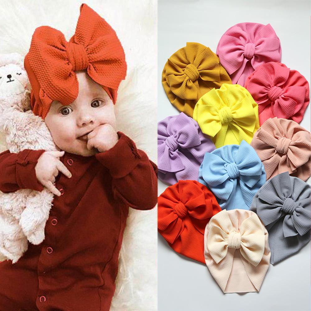 30Pcs/Lot Solid Seersucker Baby Hat Waffle Fabric Big Bow Beanies Topknot Turban Bonnet Caps Solids Baby Headwear For 0-5T Kids
