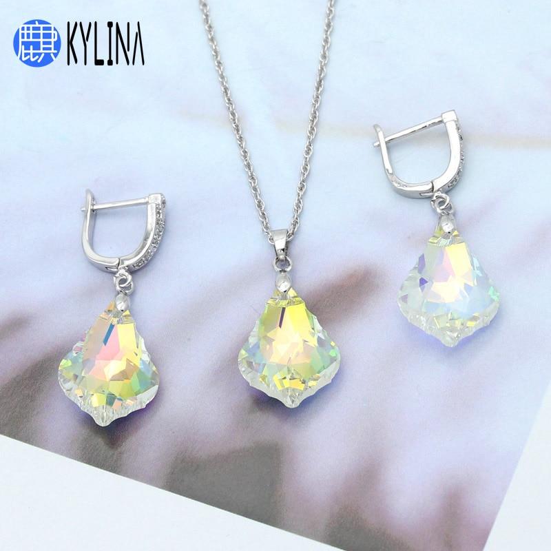 Juego de collar y pendientes de moda KYLINA, pendientes de gota de cristal coloridos para mujer, chica, fiesta de boda