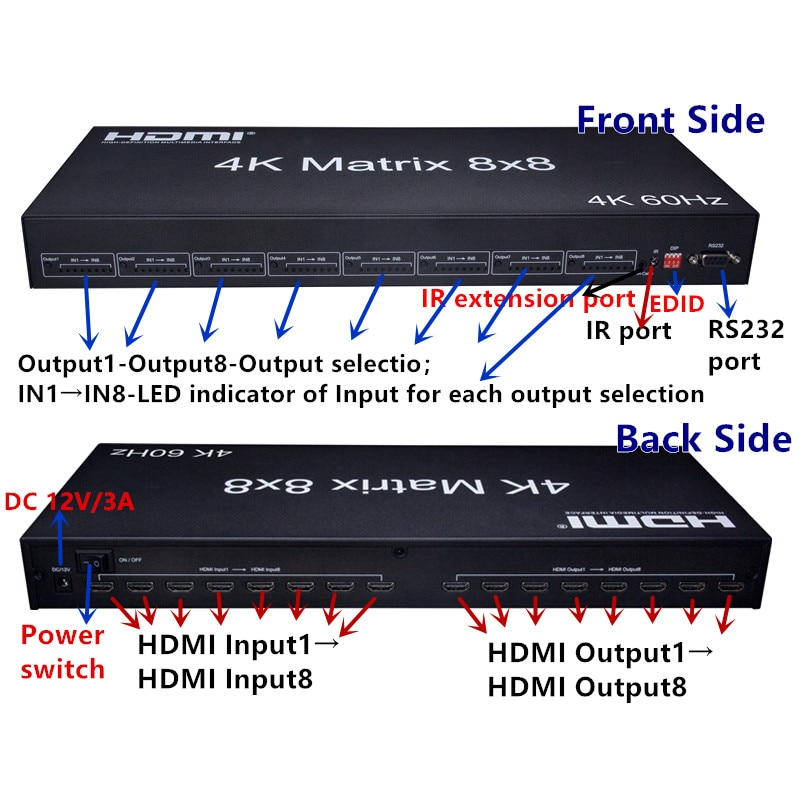 2.0V 4K HDMI Matrix 8X8 8 In 8 Out HDMI Matrix supported 3D HDMI 8x8 Matrix HDMI Matrix switch 8x8 Support 4K panel buttons enlarge