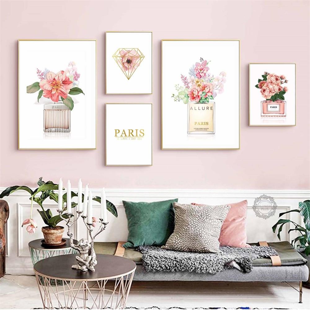 Perfume COCO peonía flor pared arte lienzo pintura carteles nórdicos e impresiones cuadros de acuarela para pared decoración de pared quadro cuadros