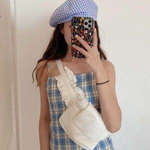 NEW Fashion Women PU Leather Female White Bag Purse Ladies Waistbag Girls Phone Pouch Belt Bag Lotus leaf Bag Female Handbag
