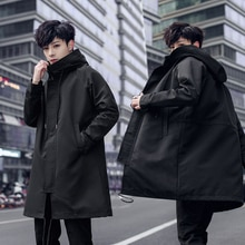 Brand Hoodies Trench 2019 Spring New Long Trench Coats Men Fashion Hooded Solid Windbreaker Pocket J