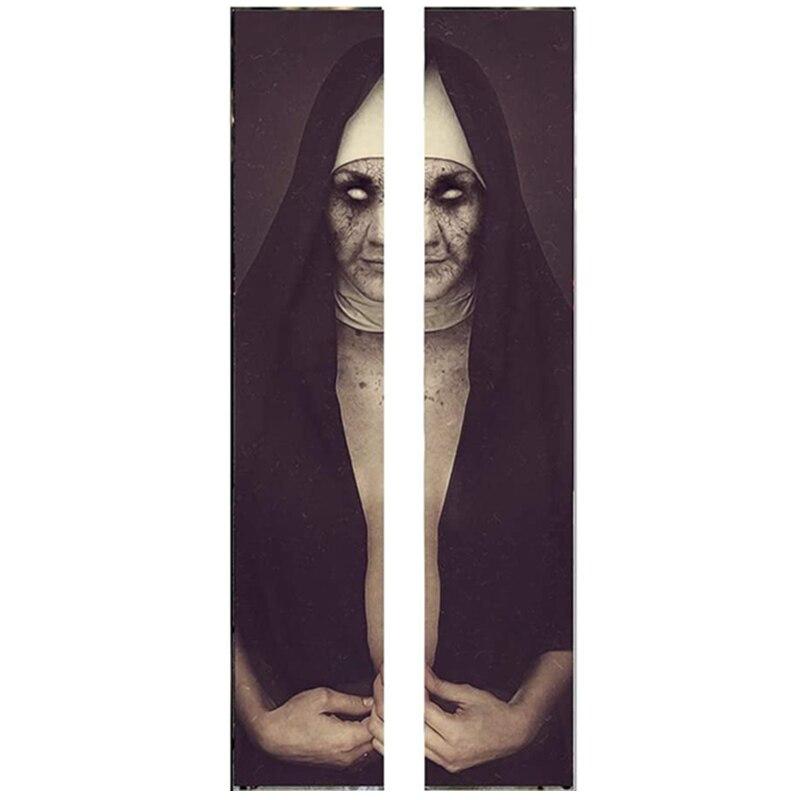 Calcomanía de puerta de monja 3D de Halloween caliente-30x80 pulgadas fantasma de miedo monja realista Halloween puerta papel tapiz decoración Mural