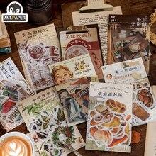Mr.Paper-pegatina de papel Washi de 8 diseños, Material adhesivo de manual de bricolaje para decoración de cafetería, serie Retro