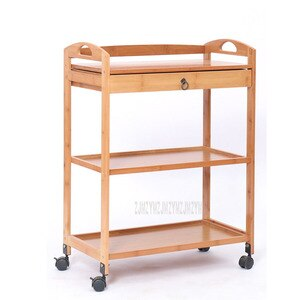New Movable Bamboo Dining Trolley 3/4 Layer Tea Dining Cart Small Living Room Side Cabinet Beauty Salon Trolley Kitchen Shelf
