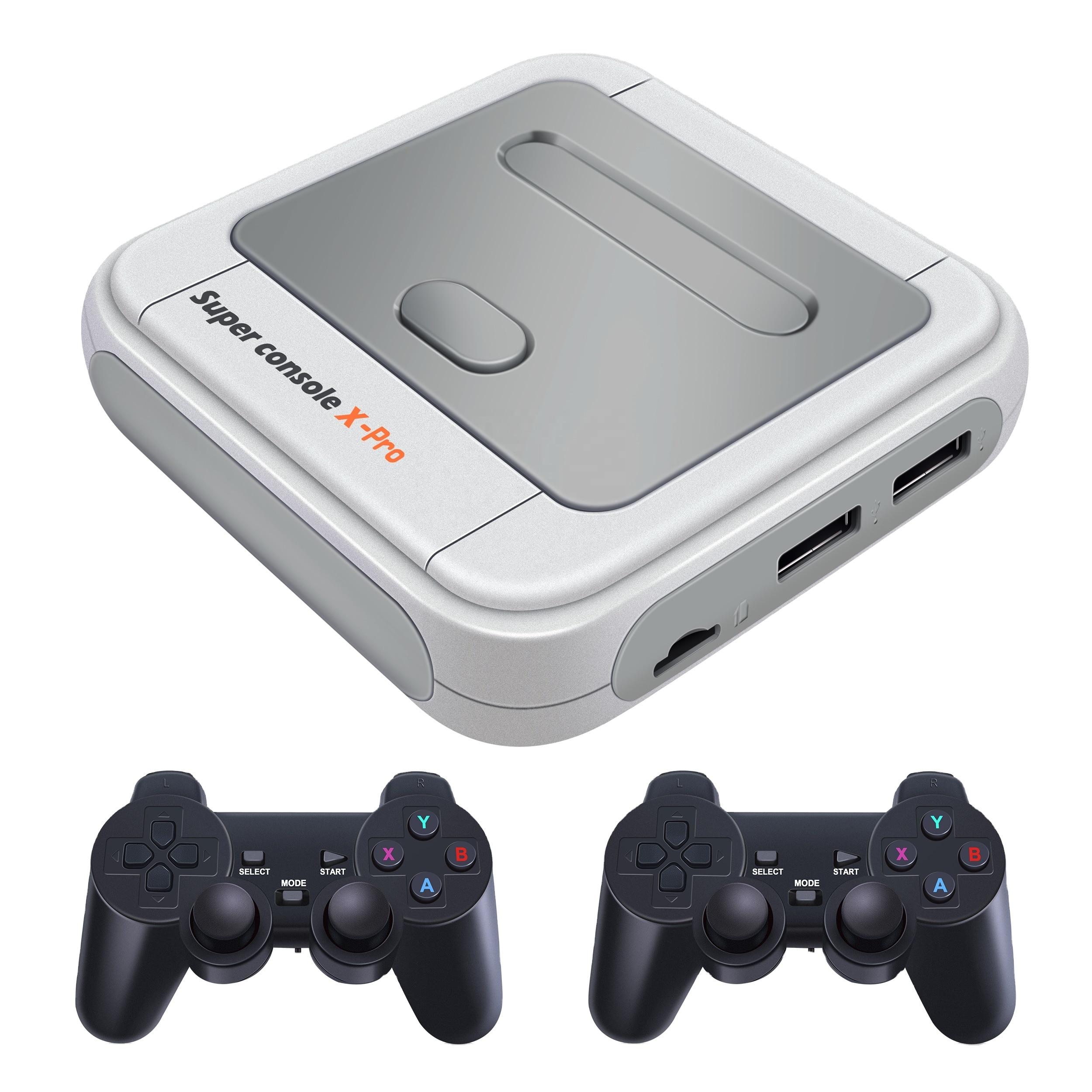 سوبر وحدة التحكم X برو 256GB 2.4G لوحة ألعاب لاسلكية 4K ألعاب الفيديو وحدة التحكم ل PSP PS1 N64 MD بناء في 50000 ألعاب
