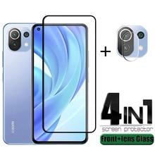 4-in-1 For Xiaomi Mi 11 Lite Glass For Mi 11 Lite Protective Glass Full Glue Cover HD Screen Protect