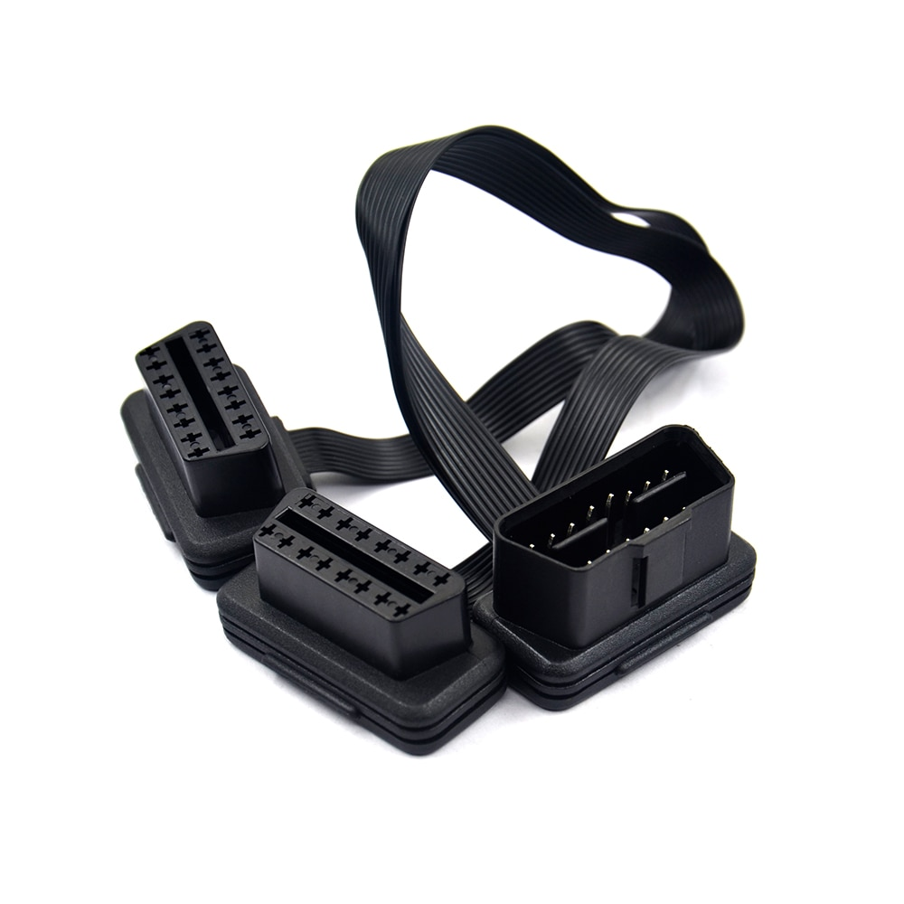 VSTM плоский + тонкий 16 Pin OBD 2 удлинитель OBD2 16 Pin ELM327 Штекерный к двойному гнезду Y сплиттер локоть OBDII удлинитель соединительный кабель