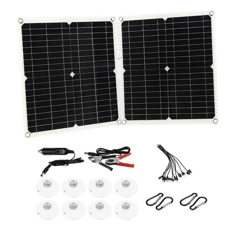 50 واط المحمولة لوحة شمسية قابلة للطي الالواح الشمسية الاحادية عدة المزدوج USB الناتج 18 فولت شاحن بطارية