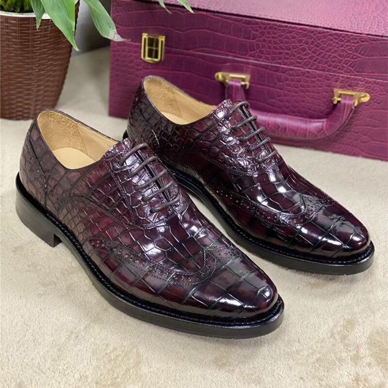 أصيلة جلد التمساح أشار تو الرجال Burgundy فستان أحذية حقيقية جلد التمساح الحقيقي رسمت باليد الذكور البروغ Oxfords