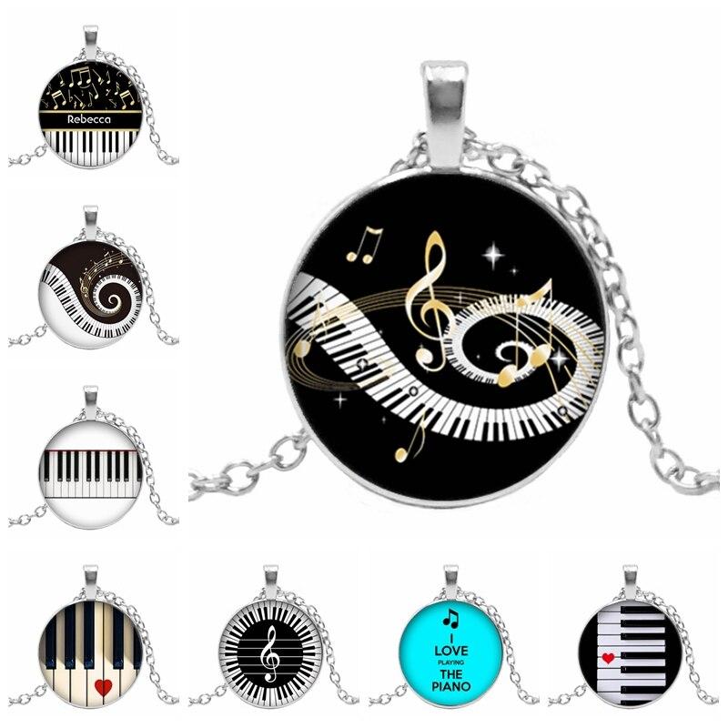 ¡Caliente! Nuevo colgante con diseño de amor de Piano en forma de corazón de cristal redondo convexo Teclado de Piano cúpula de cristal collar de demostración de joyería