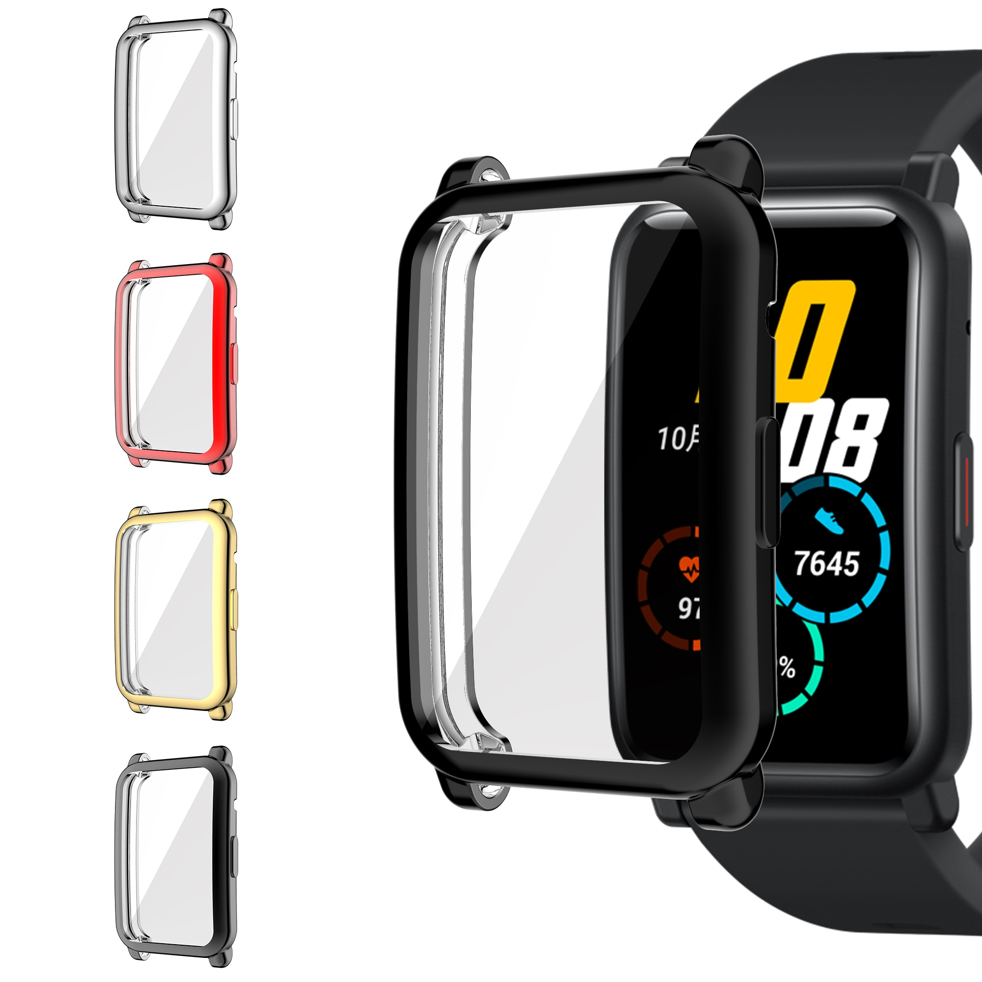 TPU Soft Glass Screen Protector Case Shell Edge Frame For Huawei Honor Watch ES Strap Band Protectiv
