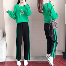 1108 Suit Women's 2021 Autumn Fashionable Wide-Leg Pants Fashionable Casual All-Matching Green Hoody