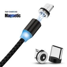 Chargeur de câble USB magnétique de roche chargeur de câble Micro USB C de Type C pour Xiaomi Redmi Note 8 iPhone XR 11 8 adaptateur Samsung 2m