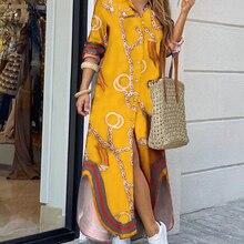 CN975เสื้อแฟชั่น-สไตล์สุภาพสตรีลำลองยาว Street ขนาดใหญ่หลวมบ้าน Commuter พิมพ์ชุดผู้หญิง