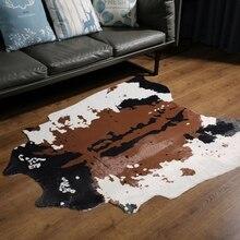 Brązowy Faux dywanik ze skóry bydlęcej Western Cowboy futro obszar skóry dywan do salonu 140x160cm