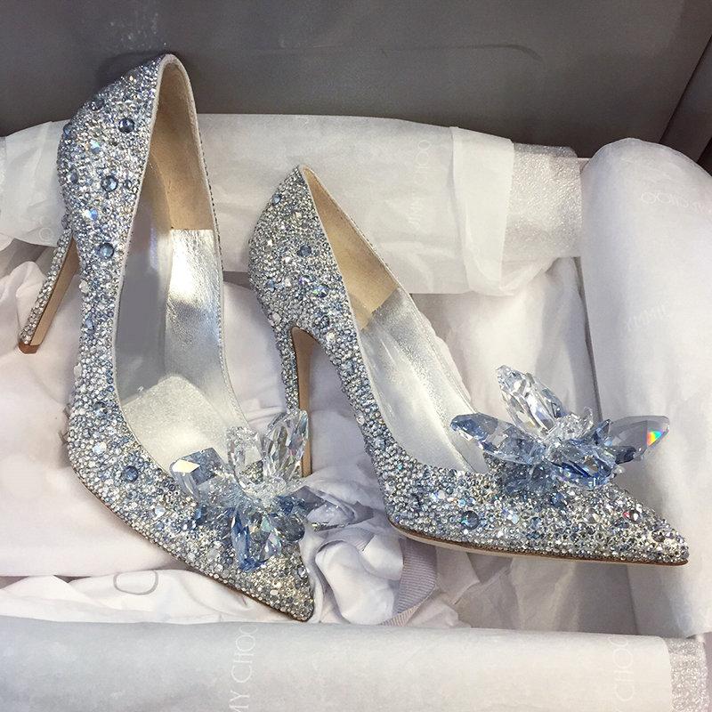 2020 Nieuwste Strass Hoge Hakken Cinderella Schoenen Vrouwen Pompen Puntige Teen Vrouw Crystal Party Wedding Schoenen 5Cm/7cm/9Cm Hakken