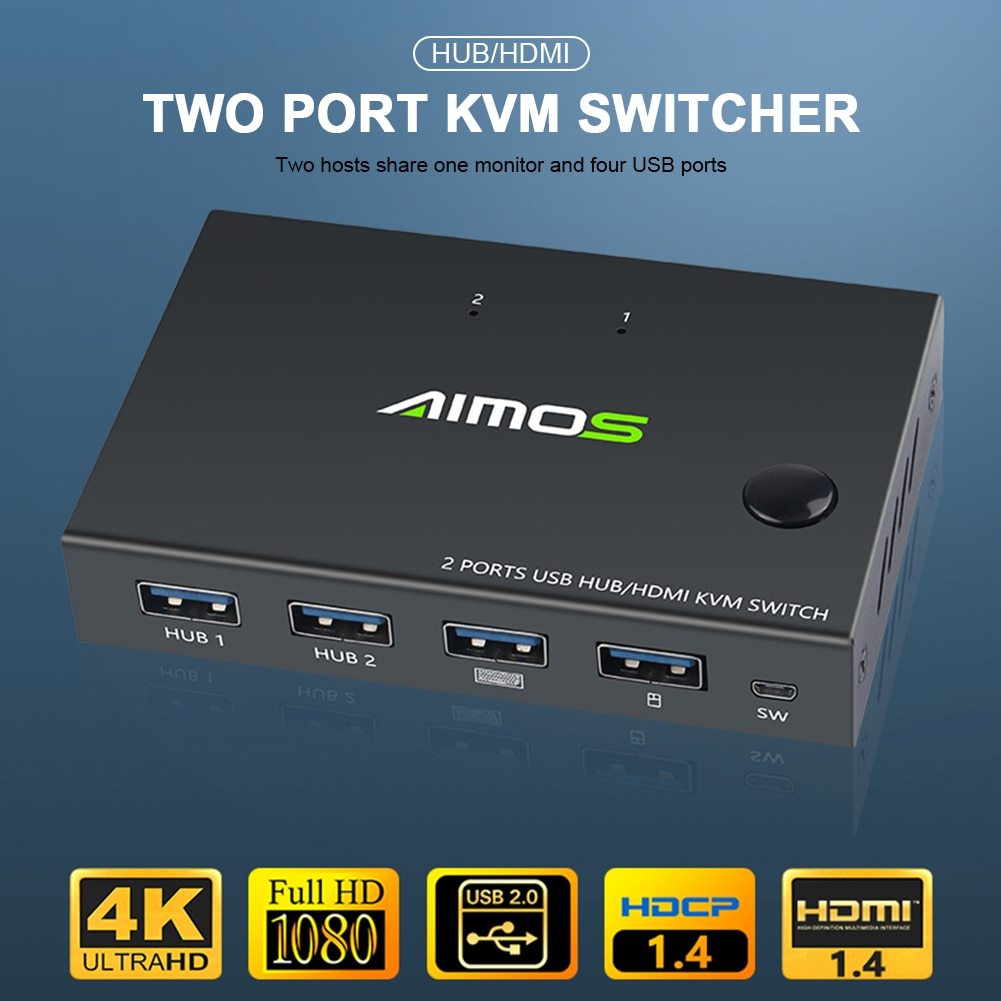 hdmi compatible kvm switch 2 port 4k household computer accessories for 2 pc sharing one monitor keyboard mouse printer Out 4K USB KVM Switch Box Video Display USB HDMI-compatible Switch Splitter For 2 PC Sharing Keyboard Mouse Printer Plug Paly