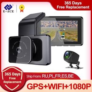 E-ACE B05P Car Dvr 3 Inch Mini Wifi Dash Cam FHD 1080P Dashcam With Bult in GPS Tracker Video Recorder Support Rear View Camera