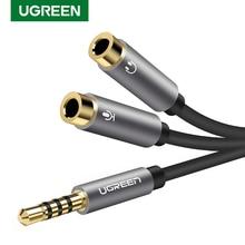 UGREEN adaptateur casque casque micro Y répartiteur câble 3.5mm AUX Audio stéréo mâle à 2 femelles prises de Microphone Audio séparées