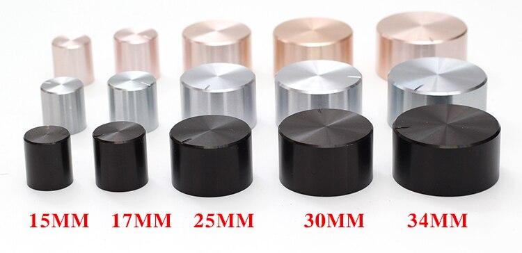 Bouton de potentiomètre en plastique aluminium 15*16 21*17 26*17 30*17 34*17 40*19mm argent noir or châssis volume capuchon amplificateur boutons