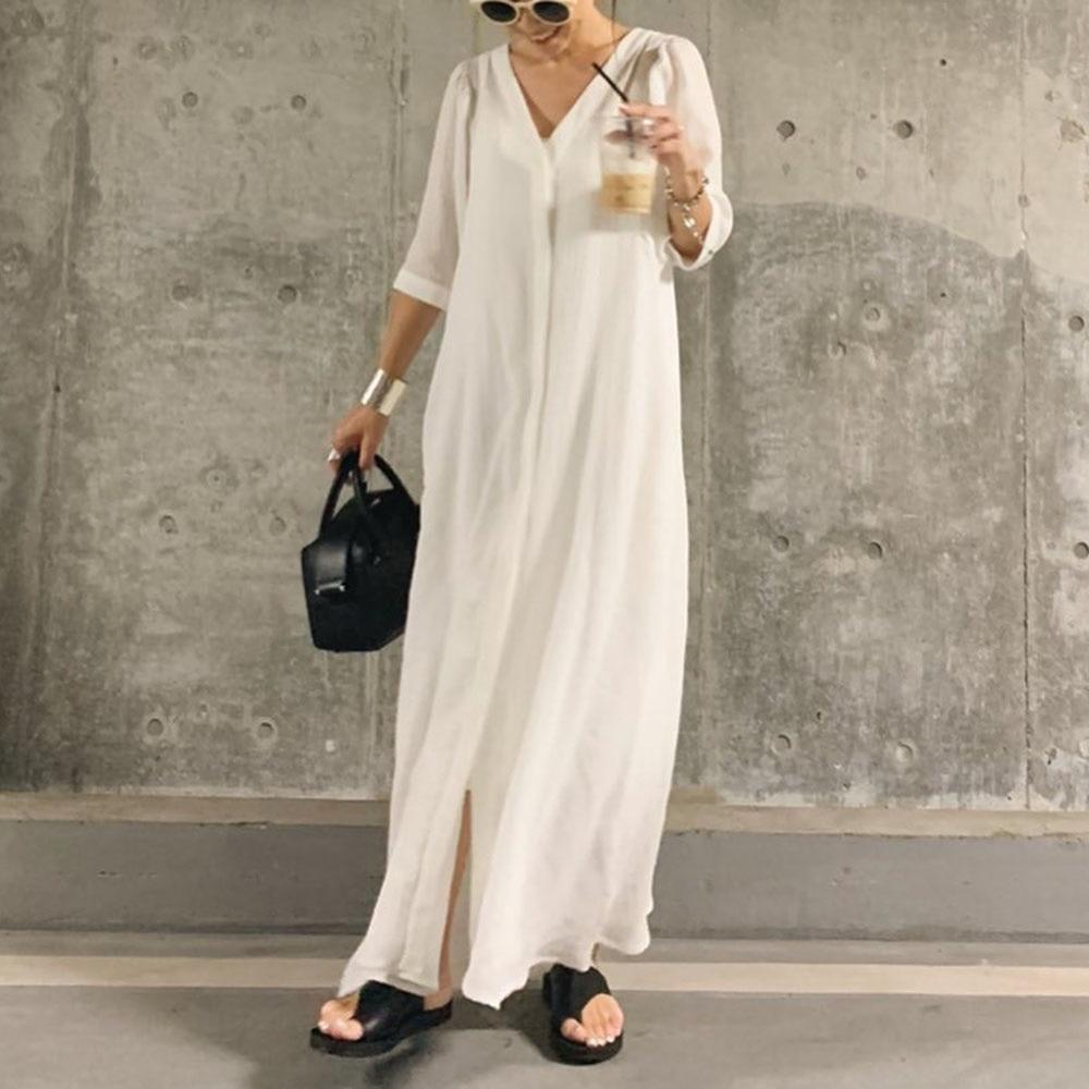 Dress 2021 Loose Slim Long Thin V-neck Single-breasted  Half Sleeve A-line Solid Color Elegant Women