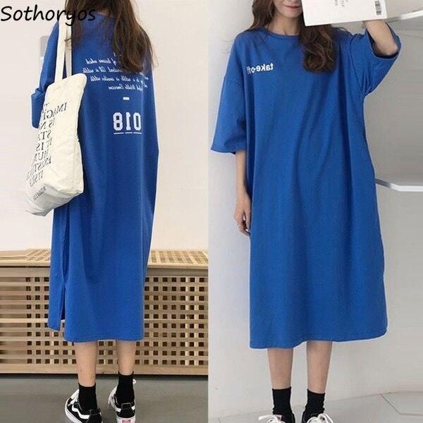 Nightgowns Women Summer Shirt Sleeve Sleepshirt Womens Chic Harajuku Loose Long Korean Style Soft All-match Simple Students New