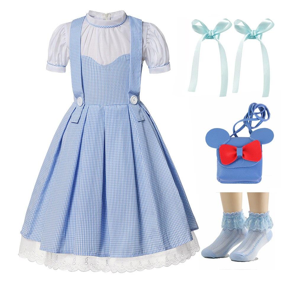 Película El Mago de OZ disfraz de Dorothy para chicas chico fantasía princesa Dorothy Robe vestido de fiesta de Navidad elegante disfraz de California
