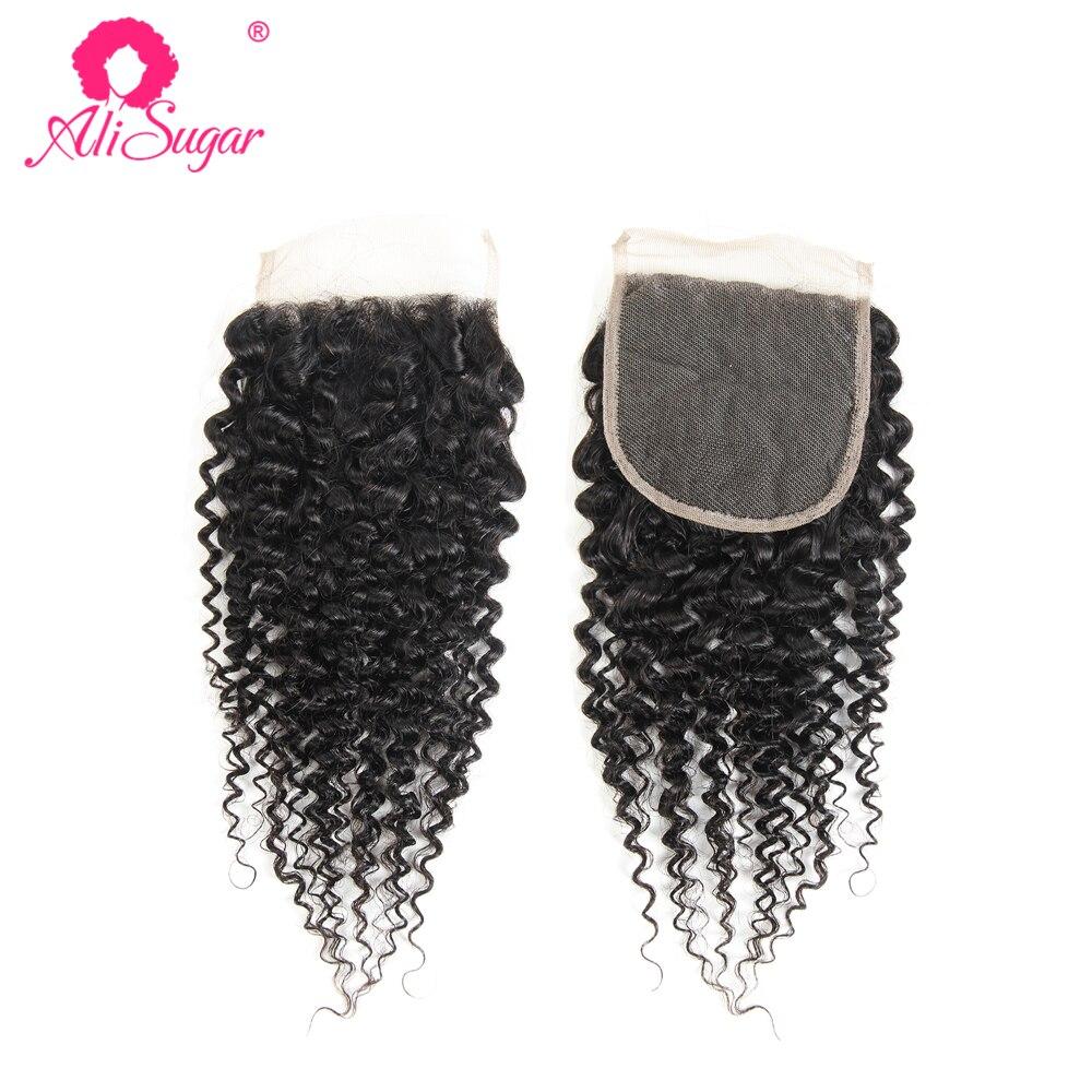 Perruque Lace Closure wig 100% naturelle – Ali Sugar, cheveux crépus bouclés, couleur naturelle, 4x4, 10-20 pouces