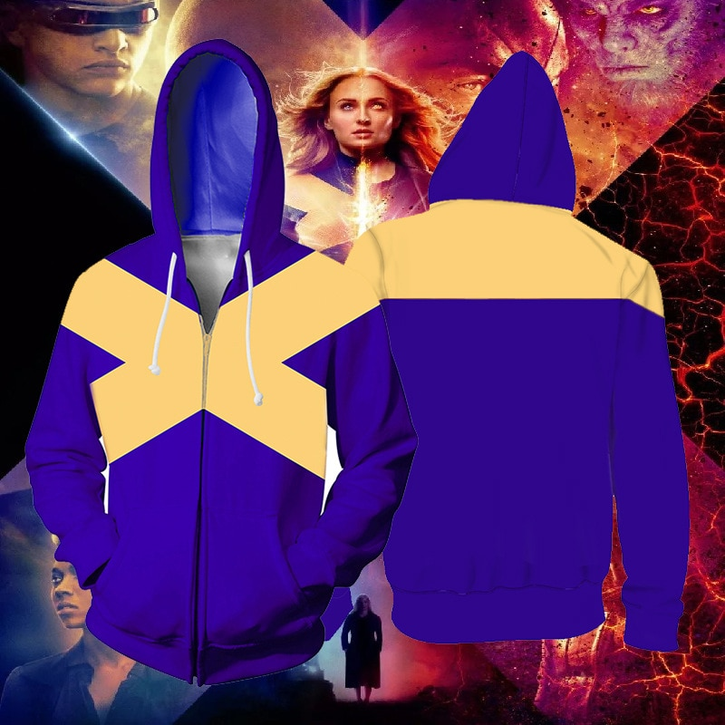 X-Men: Dark Phoenix Marvel Girl Cosplay Costume X-Men Hoodies jacket Cosplay X-Men 3D Printing zipper Sweatshirts man and lady