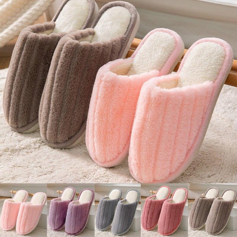 Women Slippers Winter Warm House Home Soft Non-Slip Plush Cotton Shoes Men Lovers Bedroom Ladies Gir