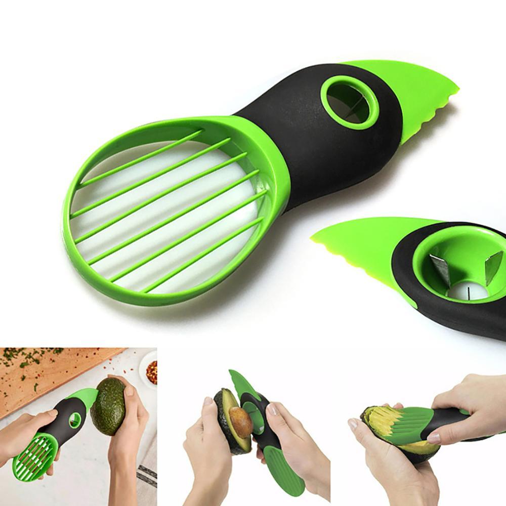 3in1 portátil de plástico rebanadora de aguacate pelador cortador separador de fruta Pitter cuchillo cuchara para pelar separador de fruto herramientas de cocina