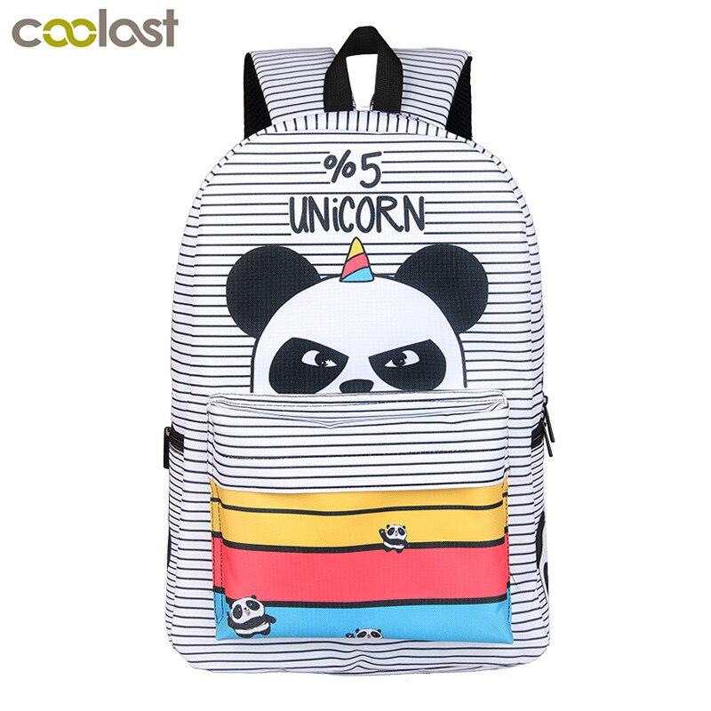 %5 Unicorn Students Backpack Cartoon Panda Children School Bags Backpack for Teenager Girls Book Bag Women Laptop Backpack
