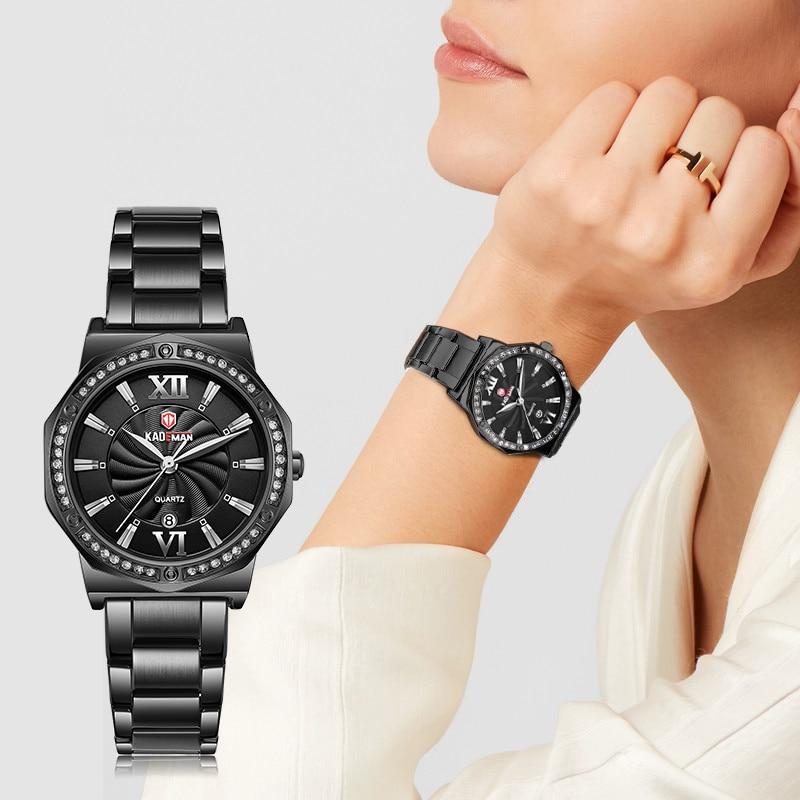 KADEMAN Women Watch Rhinestone Fashion Exquisite Leather Casual Watchs Luxury Analog Quartz Crystal Wristwatch Bracelet Watches enlarge