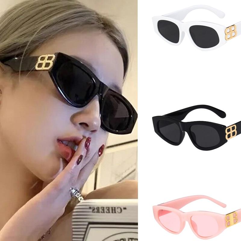 Солнцезащитные очки женские уличные модные очки личные дикие солнцезащитные очки треугольная оправа кошачий глаз ретро очки мужские очки ...