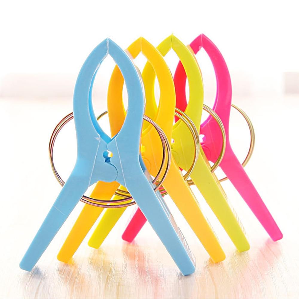 4 Pcs/Set Large Bright Colour clothes Clip Plastic Beach Towel Pegs clothespin Clips to Sunbed Multicolor