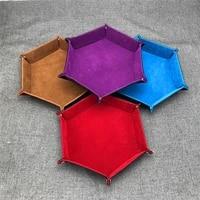 1pc foldable storage tray hexagon pu leather velvet cloth food tray dice trays table games desktop sundries key storage box