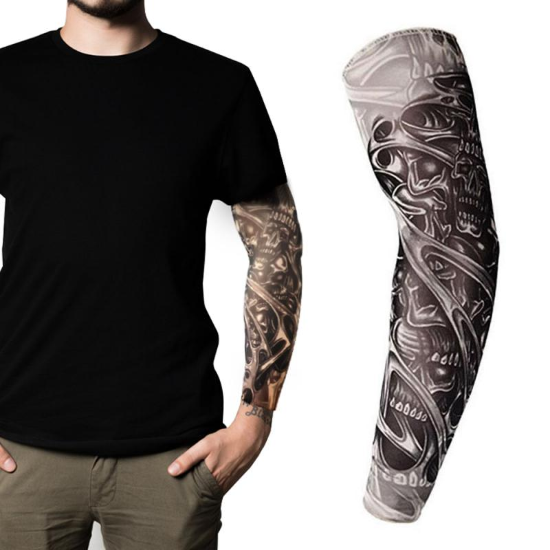 Tatuajes 3D transpirables, 1 Uds., calentadores de manga de brazo UV para ciclismo, Mangas de protección solar, mangas refrescantes de verano de secado rápido