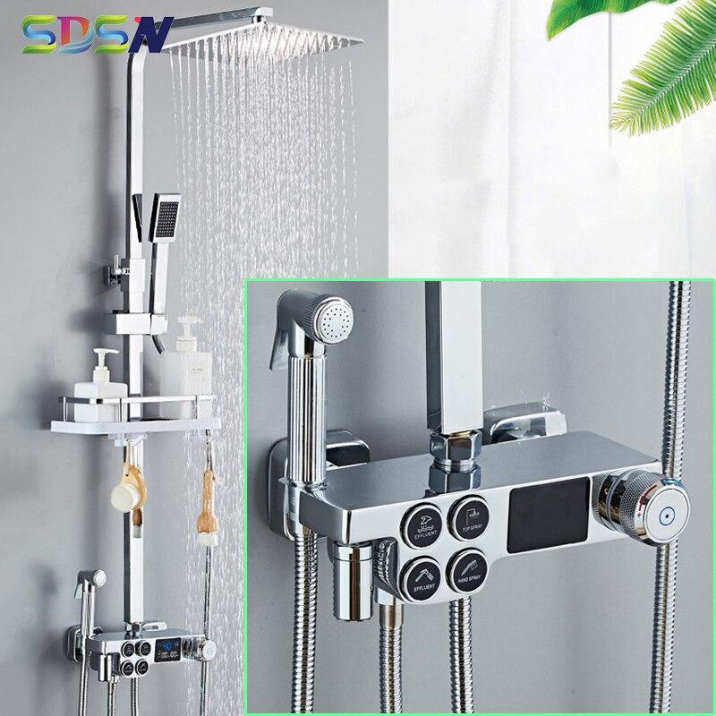 نظام دش الحمام الرقمي ، خلاط حوض الاستحمام ، تأثير المطر ، كروم SDSN ، مجموعة ثرموستاتي