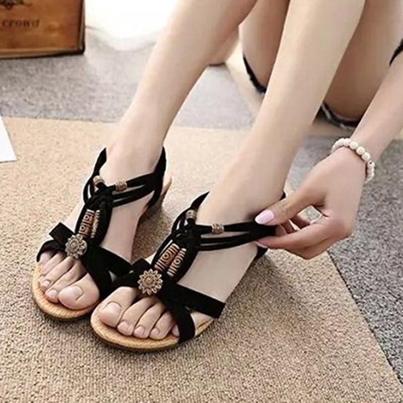 2020 New Fashion Women Sandals Summer New Bohemia Bling Shoes Rhinestones Gladiator Flat Flip Flops Shoe Plus Size