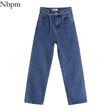 Nbpm Women 2021 Chic Fashion With Belt Baggy Straight Denim Pants Vintage High Waist Jeans Wash Slim
