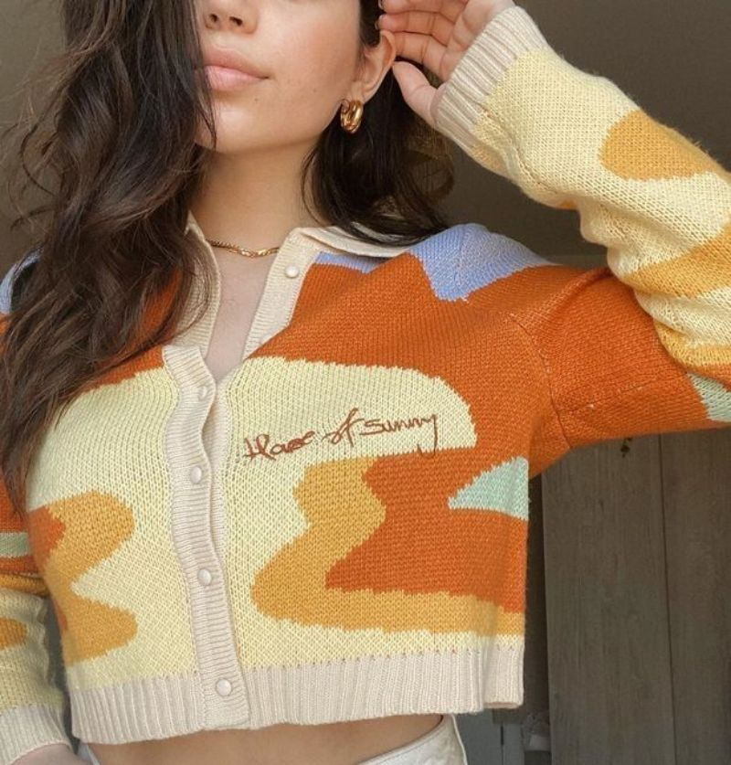 AEHIBO Women Autumn Vintage French Style Print Short Knitted Sweater Chic Lady Single Breasted Loose Cardigans House Of Sunny enlarge