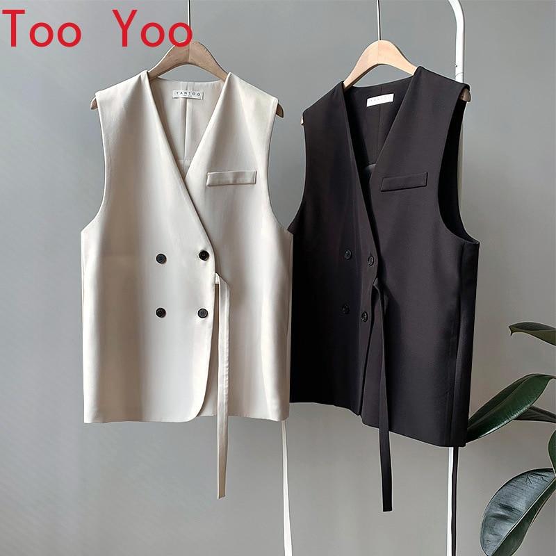 Spring 2021 new loose v-neck vest jacket for women woman jacket  sleeveless jacket women