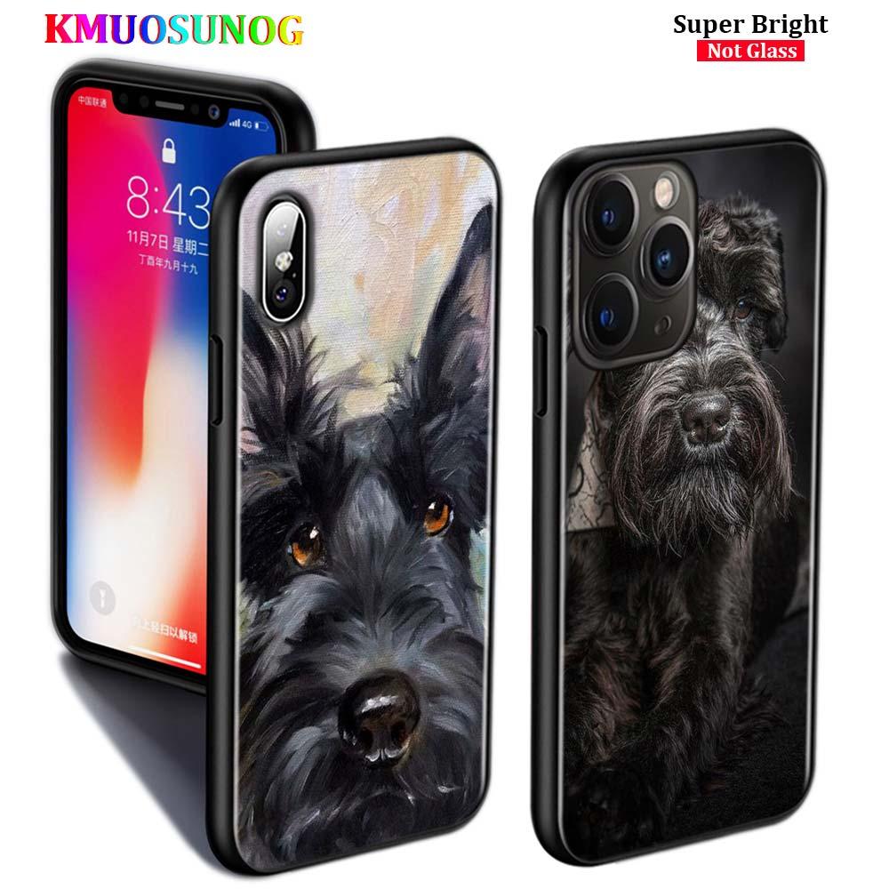 Funda de silicona negra lindo perro Terrier escocés para iPhone 11 11Pro XS MAX XR X 8 7 6S 6 funda de teléfono brillante Plus 5S