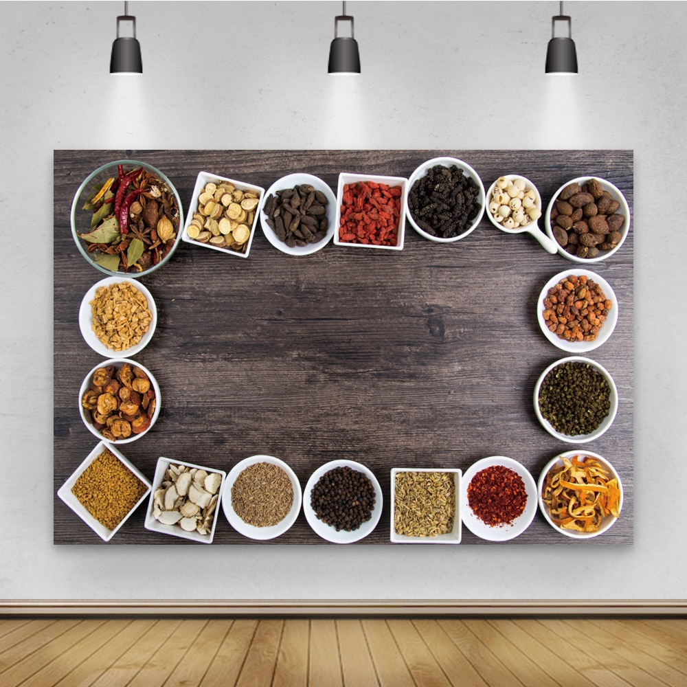 Laeacco Wood Board Kitchen Supplies Condiment Photography Backdrop Food Camera Photo Portrait Decoration Background Photo Studio