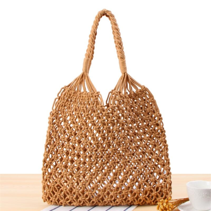 AliExpress - Hollow Straw Bag Woven Bag Handbags Forest female Mesh Rope Weaving Buckle Reticulate Net Handmade Shoulder Bag Beach Totes Bags