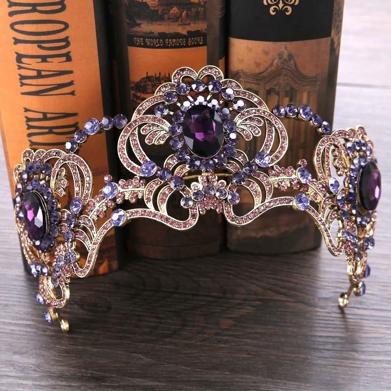 FORSEVEN Baroque Purple Crystal Pearl Crown Bridal Tiara Headpiece Hair Jewelry Wedding Hair Accessories Bride Flower Crowns JL