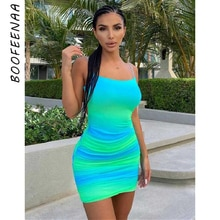BOOFEENAA Sexy Blue Backless Bodycon Dresses for Women 2021 Summer Club Outfits Spaghetti Strap Ruch