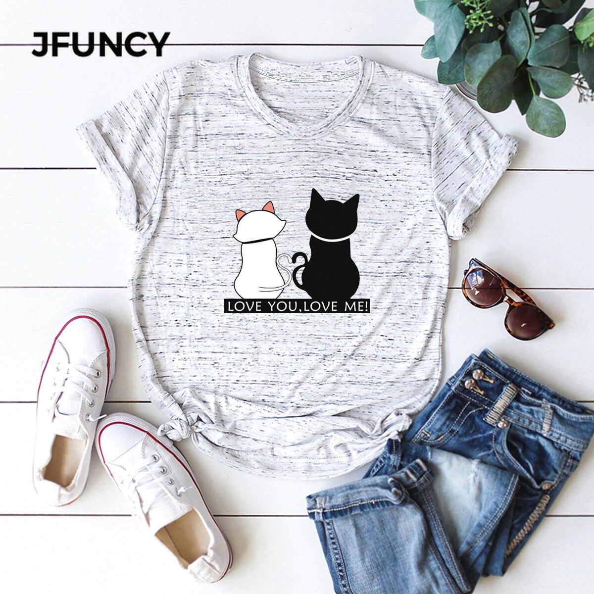 JFUNCY Summer Cotton Women T-shirts Kawaii Cartoon Cats Print T Shirt 5XL Oversize Casual Mujer Tshirt Ladies Tee Women Tops